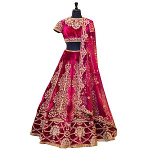 Women's New Pink Velvet Heavy Lehenga Choli