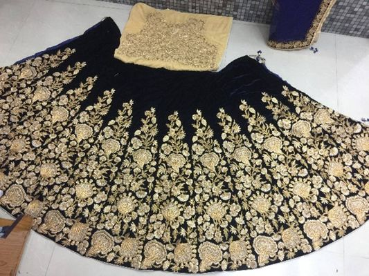 Women's New Navy Blue Velvet Heavy Lehenga Choli