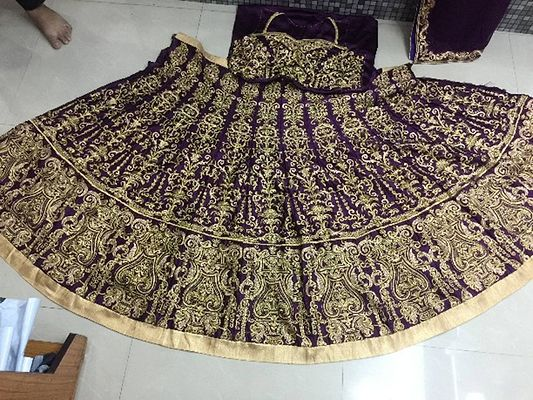 Women's New Purple Satin Heavy Lehenga Choli