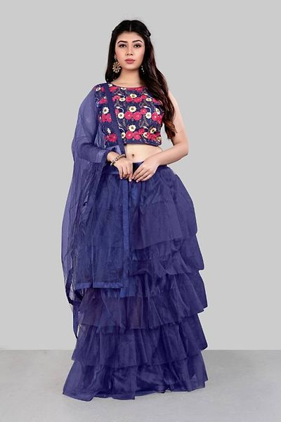Stylish Net Ruffle Lehenga With Choli And Dupatta