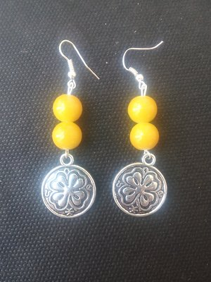 German Silver earrings with yellow beads