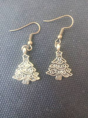 Antique gold Christmas tree earrings