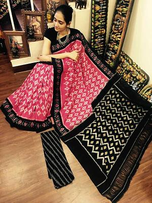 double ikkat meserised cotton saree with blouse piece.excellent quality