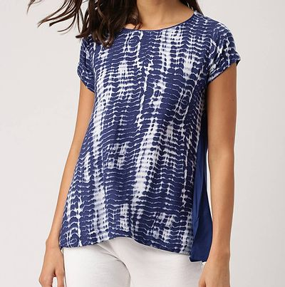 Navy Blue Loose Top with Cap Sleeves