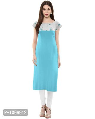 Straight  Sky Blue Colored Cap Sleeve And Boat Neck Crepe Kurti