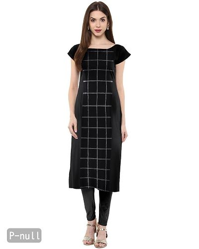 Straight  Black Colored Cap Sleeve And Boat Neck Crepe Kurti