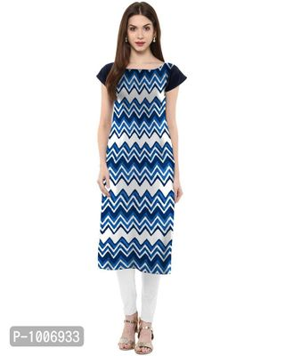 Straight  Multi Colored Cap Sleeve And Boat Neck Crepe Kurti
