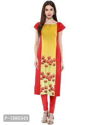 Straight  Yellow Colored Cap Sleeve And Boat Neck Crepe Kurti