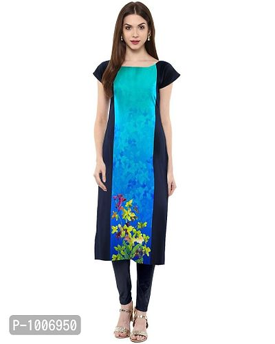 Straight  Blue Colored Cap Sleeve And Boat Neck Crepe Kurti