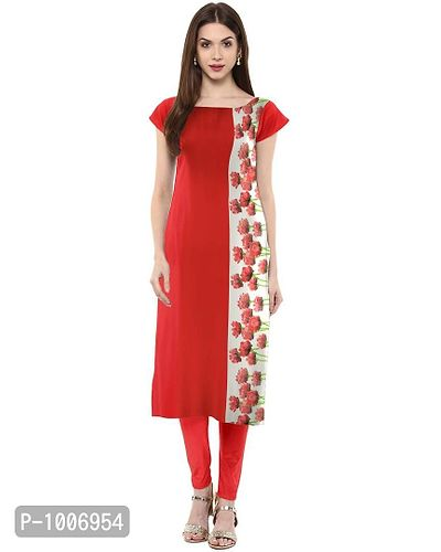 Straight  Red Colored Cap Sleeve And Boat Neck Crepe Kurti