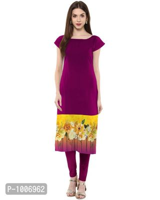 Straight  Purple Colored Cap Sleeve And Boat Neck Crepe Kurti