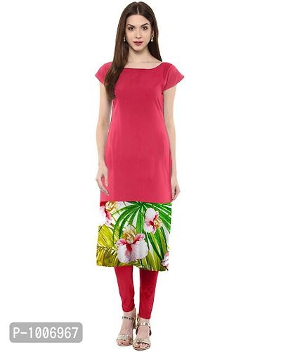 Straight  Pink Colored Cap Sleeve And Boat Neck Crepe Kurti