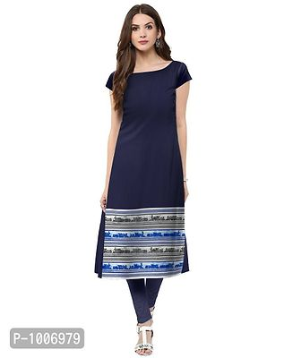 Straight  Blue Colored Cap Sleeve And Boat Neck Kurti
