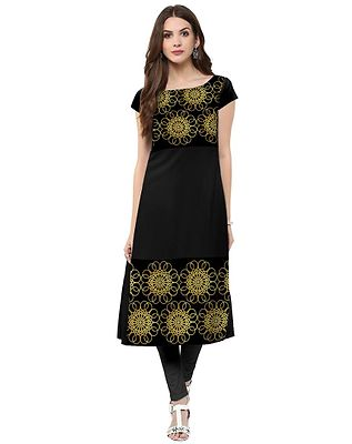 Straight  Black Colored Cap Sleeve And Boat Neck Kurti