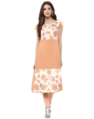 Straight  Peach Colored Cap Sleeve And Boat Neck Kurti