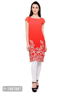 Straight  Red Colored Cap Sleeve And Boat Neck Kurti