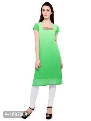 Straight  Green Colored Cap Sleeve And Square Neck Kurti