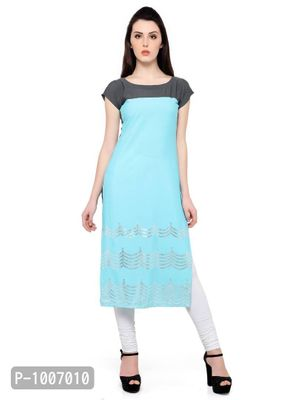 Straight  Sky Blue Colored Cap Sleeve And Boat Neck Kurti