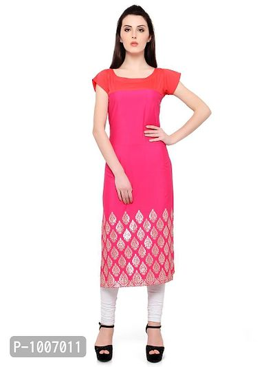 Straight  Pink Colored Cap Sleeve And Boat Neck Kurti