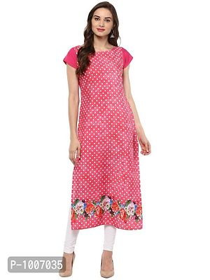 Straight  Pink and White Polka Dot Crepe Kurti