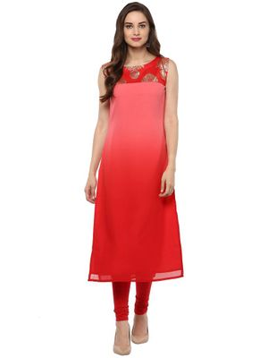 Trend Factory Shaded Georgette Pink Red  Kurti with Gold Print