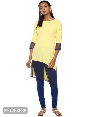 Yellow Crepe Kurta with Glitter Net Extensions