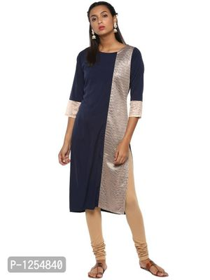 Navy Blue Crepe Kurta with One Sided Lace Detail