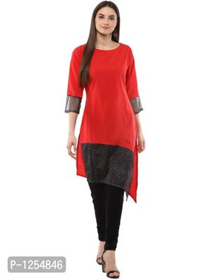 Red Crepe Kurta with Assymetrical Black Net Detail