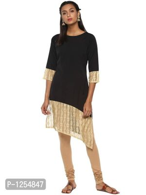 Black Crepe Kurta with Assymetrical Beige Lace Detail