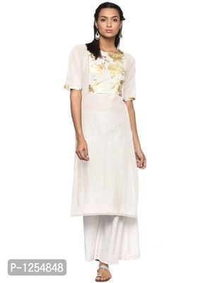 Cream Cotton Kurta with Gold Detail