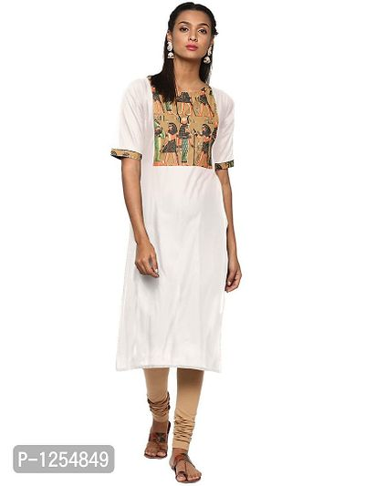 Cream Cotton Kurta with Hand Printed Egyptian Patch