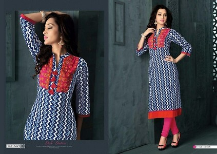 Blue with magenta embroidery kurti