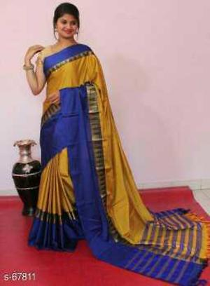 _Enhance your beauty with this meticulously crafted cotton silk saree. Featuring heavy design, glistening and shimmering color, and unique print, this saree will be the perfect choice for events,