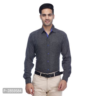 Grey Solid Polycotton Regular Fit Casual Shirt for Men's