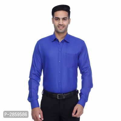Blue Solid Polycotton Regular Fit Casual Shirt for Men's