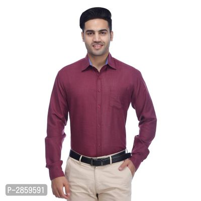 Maroon Solid Polycotton Regular Fit Casual Shirt for Men's