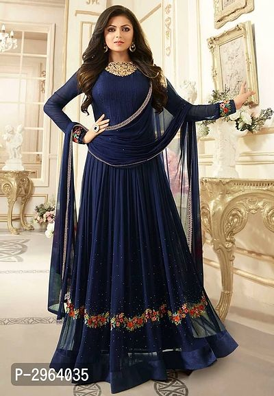 Blue Color Faux Georgette Embroidery With Stone Work Salwar Suit Dupatta