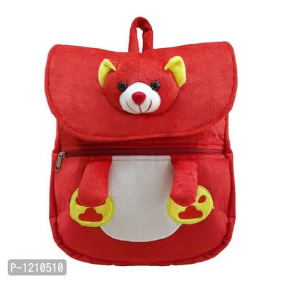 Cute Teddy Face School Bag 14 Inches - Red