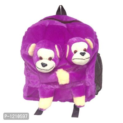 Twins Monkey School Bag 14 Inches - Purple