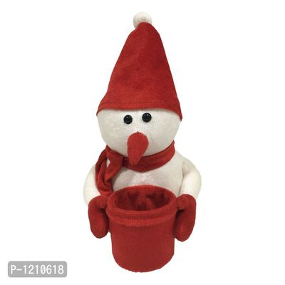 Santa Penstand 8 Inches Soft Toy White
