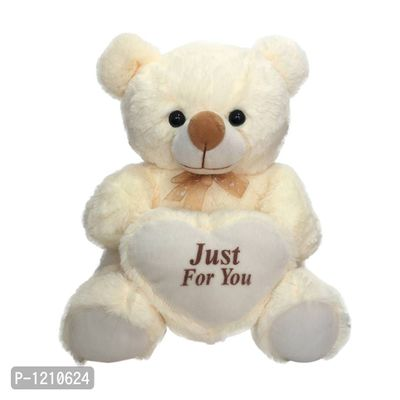 Plush Valentines Cream Teddy Bear 12 Inches Holding Heart - Just For You