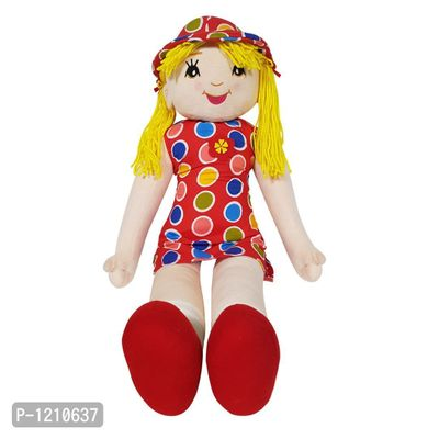 Candy Doll Soft Toy Polka Dots with Yellow hair 27 Inches - Red
