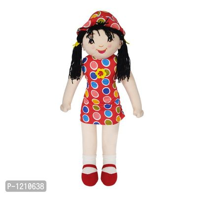 Candy Doll Soft Toy Polka Dots 27 Inches with black hair - Red