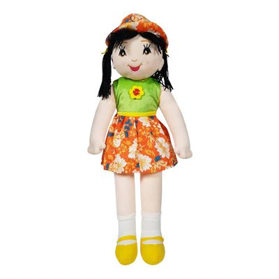 Candy Doll Soft Toy Floral Dress Orange Yellow  27 Inches