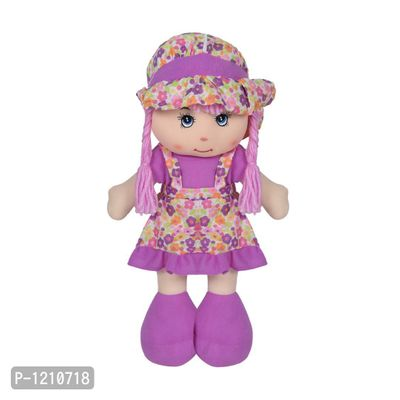 Cute Hugging Baby Doll Soft Toy with Flowers Purple 14 inches