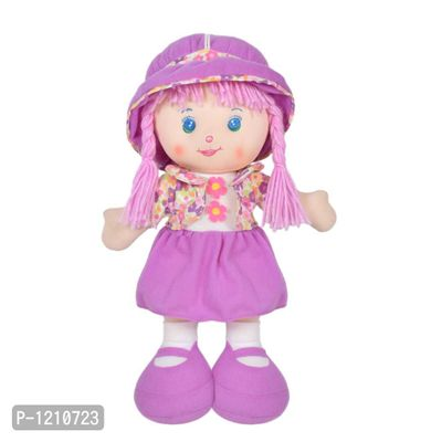 Cute Hugging Baby Doll Soft Toy with Jacket Purple 14 inches