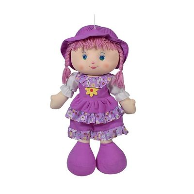 Cute Hugging Baby Doll Soft Toy with Frock Baby Purple 14 inches