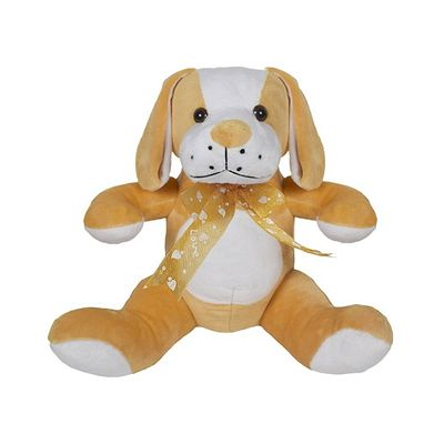Cute Sitting Dog Soft Toy 10 Inches Brown
