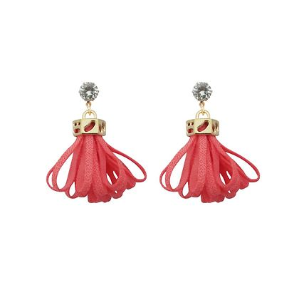 Pink Thread Gold Plated Earrings