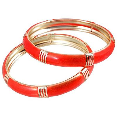 Red Enamel Gold Plated Set of 2 Bangles